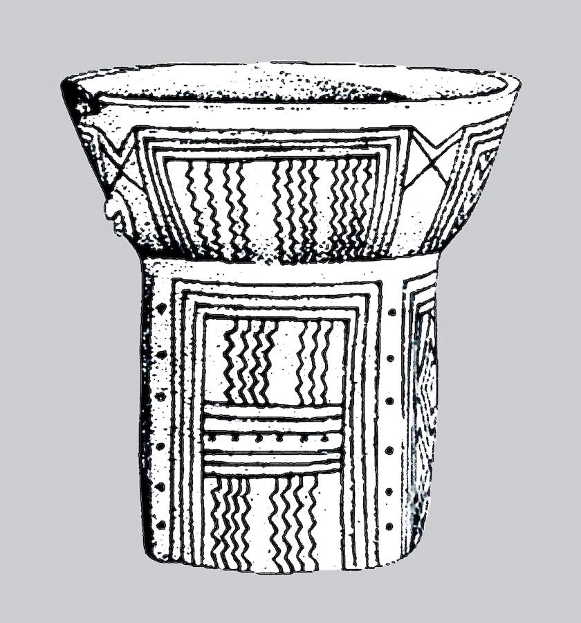 Procedente del periodo Vinca temprano 5200 aC este vaso está decorado con bandas verticales de zigzags encerradas en espacios expresamente delimitados lo que quiere decir que el grafismo está siendo utilizado como simbolo